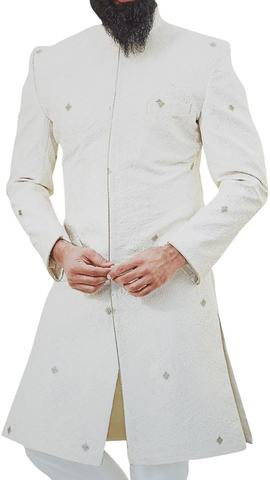 Mens Cream Sherwani for Groom Indo Western Outfit