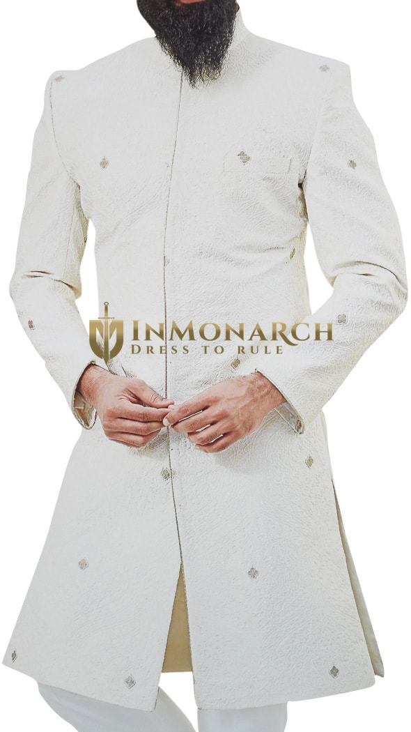 Cream Mens Indian Sherwani for Groom Indo-Western Outfit