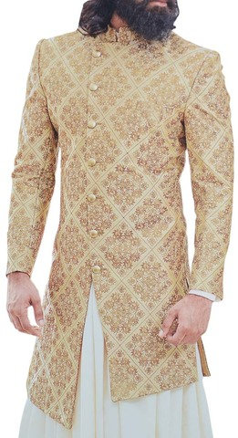 Burlywood Mens Sherwani Embroidered For Wedding Indian Groom Outfit