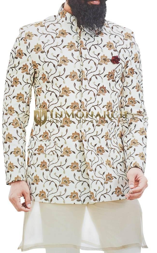 Cream Jodhpuri Suit for Men Embroidered work for Wedding