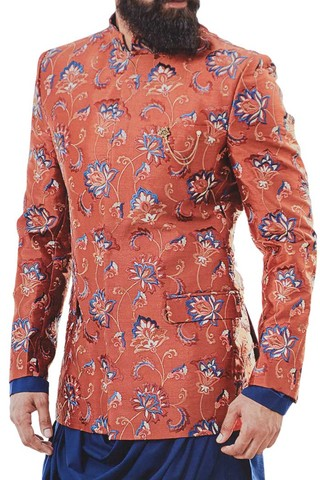 Embroidered Red Mandarin Collar Jodhpuri Suit  For Mens with Cowl kurta