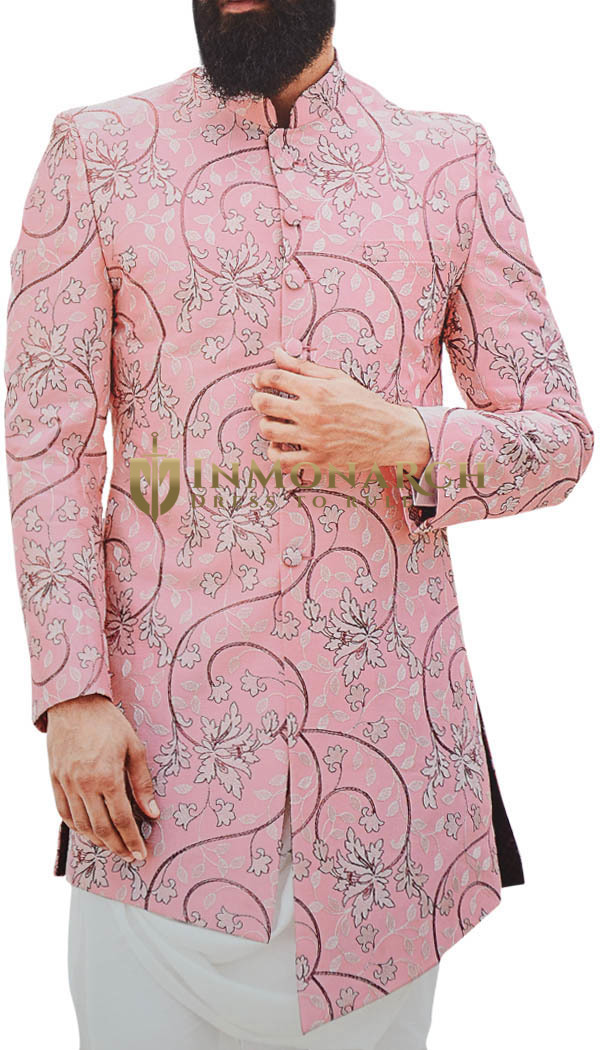 Mens Pink Embroidered stylish Jodhpuri Indian Wedding Suit
