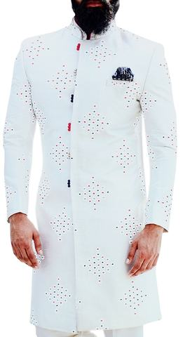 White Sherwani for Men Embellished with Threaded Motifs for Wedding