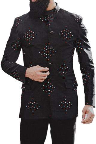 Embroidered Mandarin Collar Jodhpuri Suit For Mens