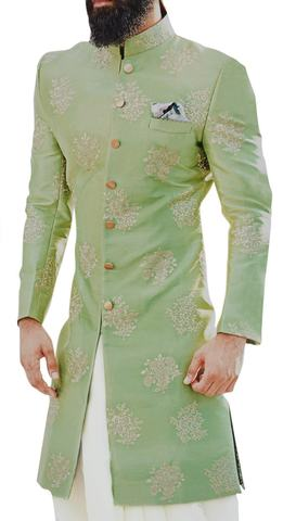 Green Sherwani for Groom Men Indian clothing Embellished with Motifs