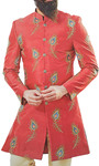 Red Sherwani for Men Embellished with Peacock Feather Motifs
