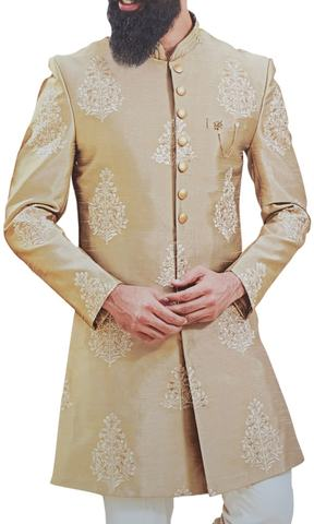 Tan Mens Indian Dress Clothing Sherwani for Groom Embellished with Floral Motifs