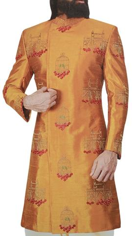 Mens embroidered Marigold wedding Sherwani for groom  indian clothing for men