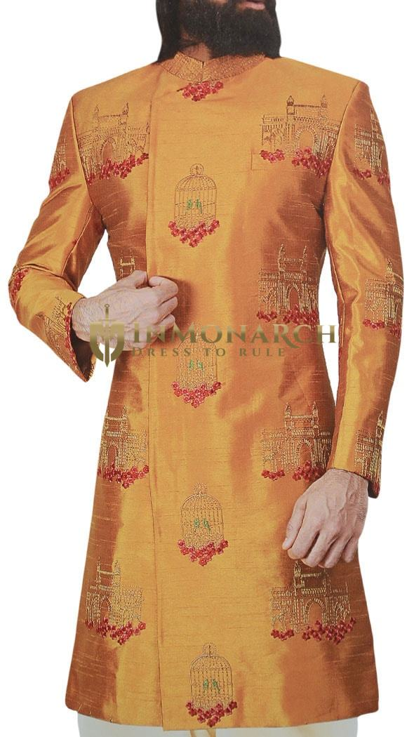 Orange Sherwani for Men Groom Indian Clothing Decorated with Fort and Cage Motifs