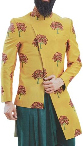 Mens yellow Embroidered stylish Jodhpuri Suit Indian Wedding Suit