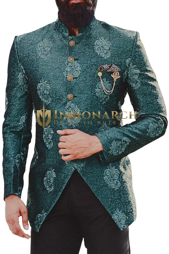 Peacock Embroidered Mandarin Collar Jodhpuri Suit  For Mens