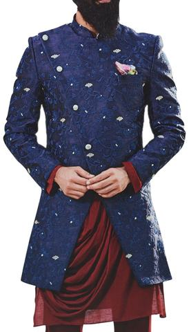 Navy Blue Mens Sherwani Indian clothing for Groom Embellished with Floral Motifs
