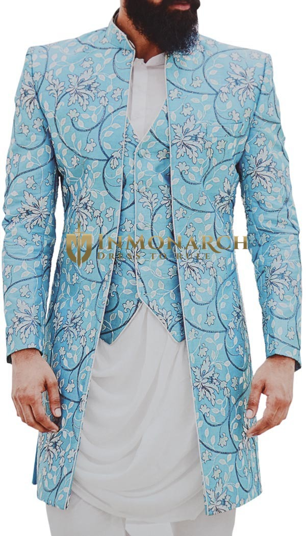 Mens sky-blue Embroidered stylish Jodhpuri Suit Indian Wedding Suit