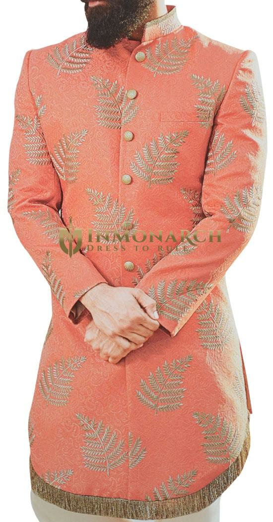Watermelon Color Sherwani for Men Decorated with Leaf Motifs