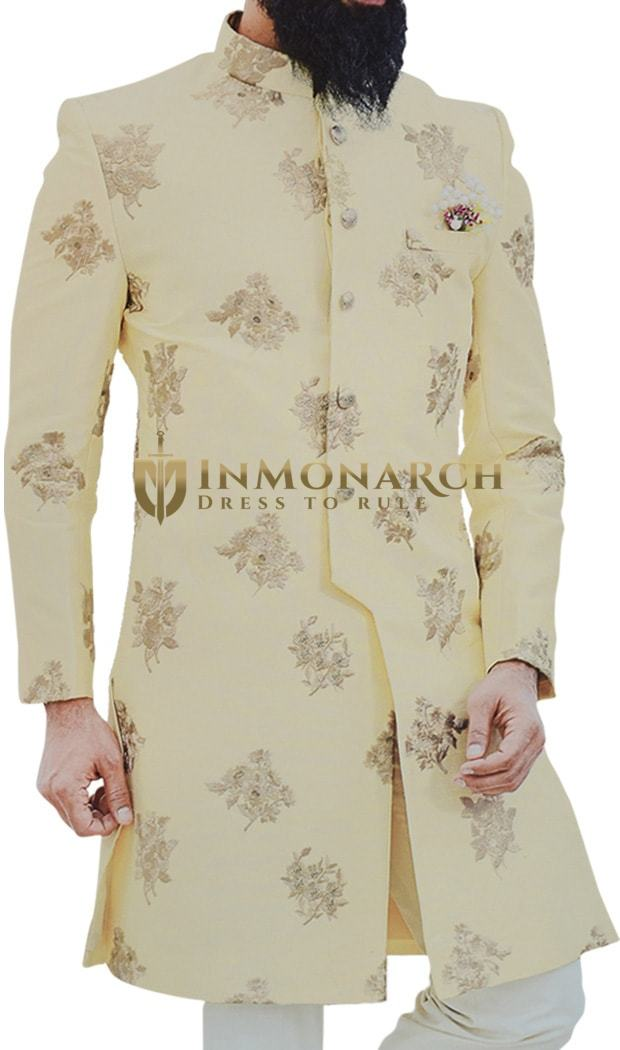 Yellow Mens Indian Sherwani for Wedding Embellished with Floral Motifs