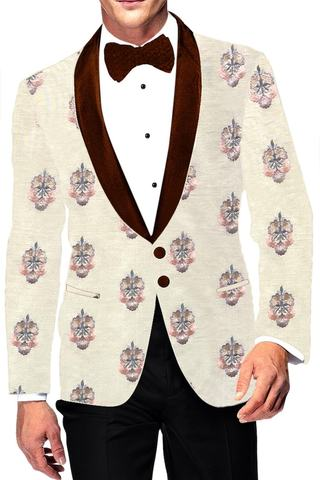 Slim fit Ivory sport jacket coat Shawl Collar Blazer