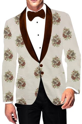 Cream Embroidered Shawl Collar Mens Blazer