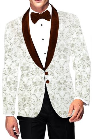 Embroidered White Shawl Collar sport jacket coat Blazer