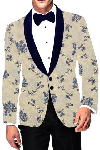 Embroidered Yellow Mens Shawl Collar Blazer sport jacket Coat