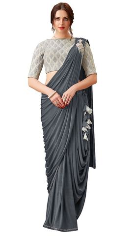 Ethnic Gray Lehenga Saree