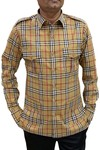 Boy ScoutUniform tan checks Safari Shirt Mens Hunting Shirts full Sleeves