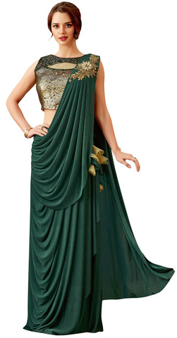 Wedding Green Lycra Bridal Saree