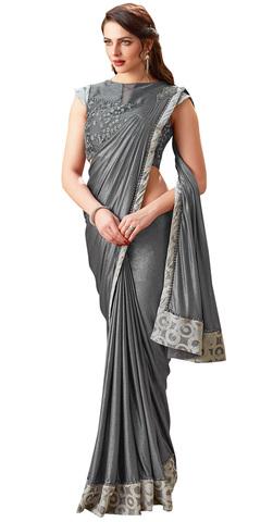 Aristocratic Grey fancy lycra Saree
