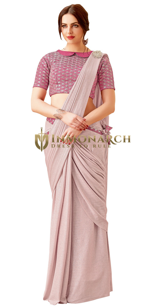 Cord and Sequins embroidery Pink Bridal Saree