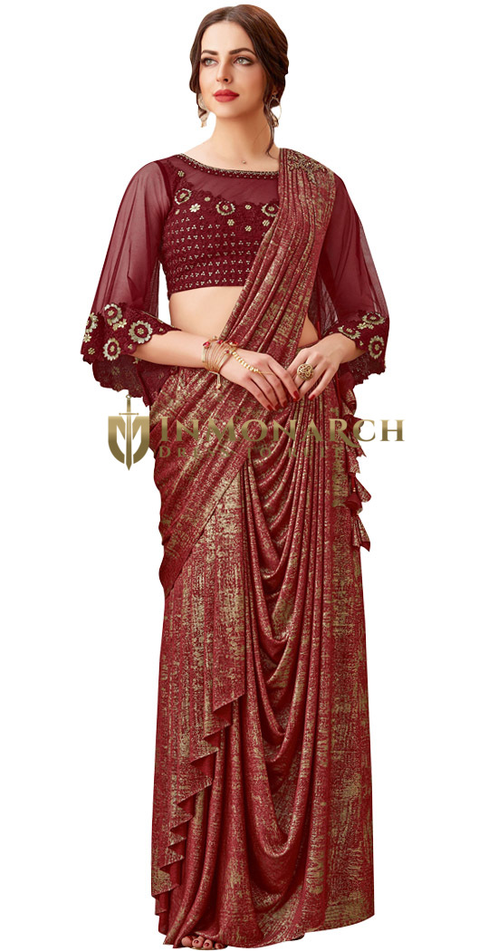 Beautiful Thread and sequins Maroon embroidery Bridal Saree