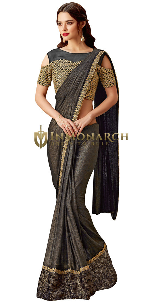Beautiful Black Lycra Bridal Saree