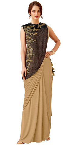 Lycra Beige Zari and cord embroidery Wedding Saree