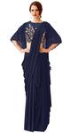 Designer Blue Dual Tone lycra Saree
