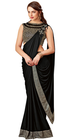 Elegance Black Sequins embroidery Bridal saree