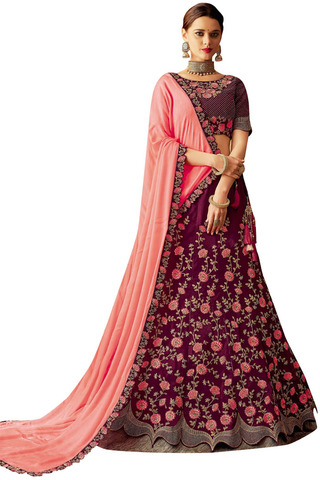 Traditional Wine and peach Bridal Lehenga