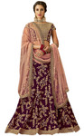 Taffeta Silk Wine Cord Embroidered Lehenga Choli
