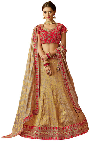 Beige and Gold Jacquard Silk Bridal lehenga