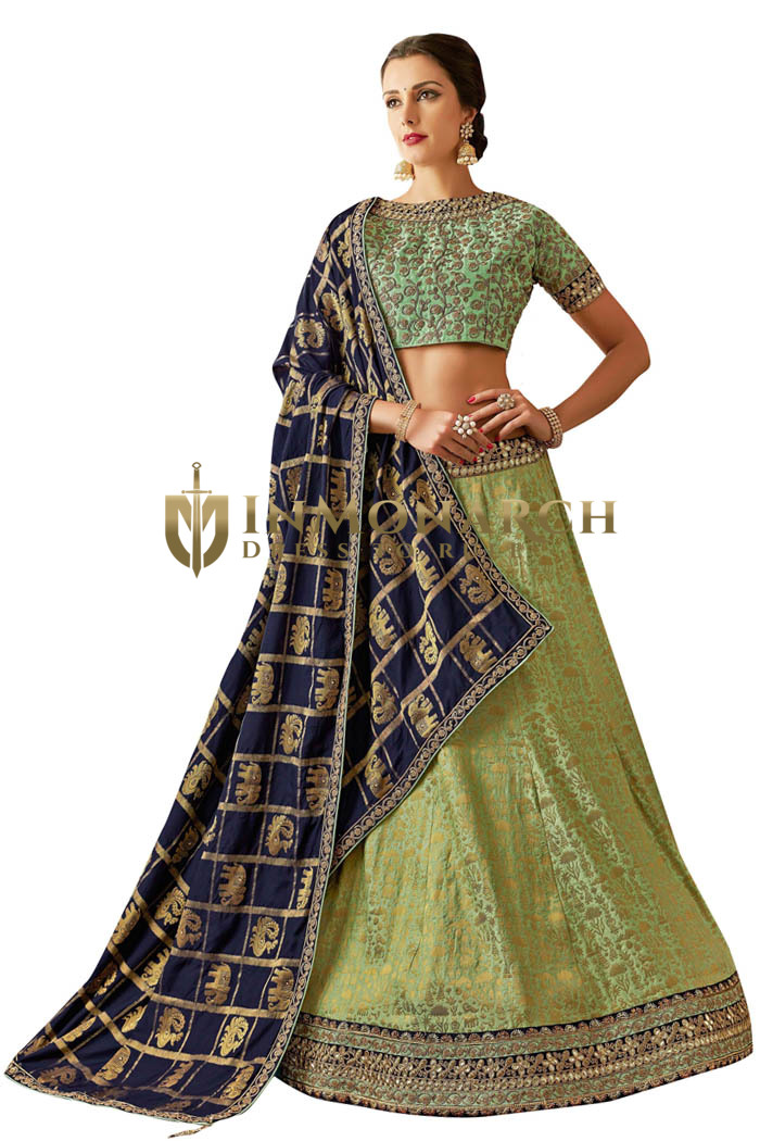 Green weaved silk Bridal Lehenga