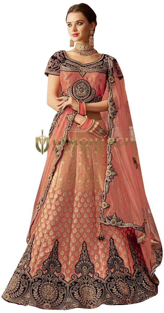 Peach Weaved Silk Cord embroidered Bridal Lehenga