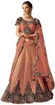 Peach Weaved Silk Cord embroidered Bridal Lehenga