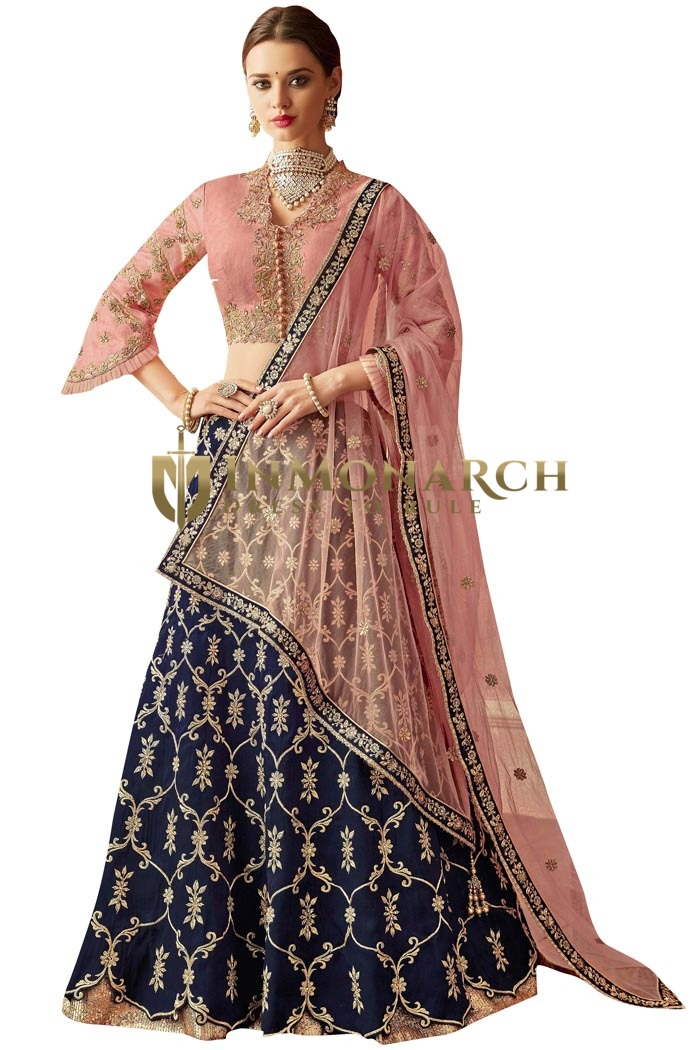 Taffeta Silk Pink Wedding Bridal Lehenga