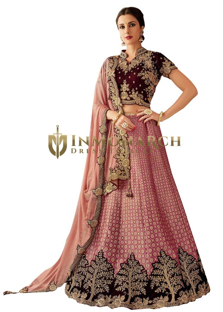 Jacquard Silk Pink Embroidered Lehenga Choli