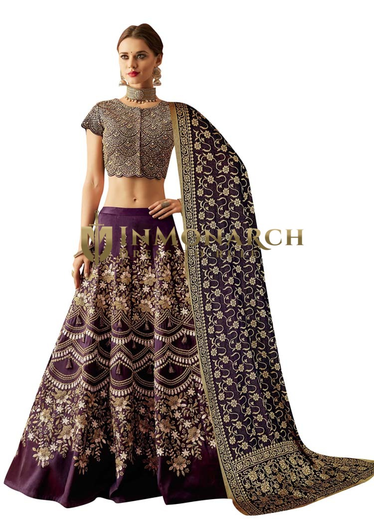 Embroidered PurpleTaffeta Silk Bridal Lehenga