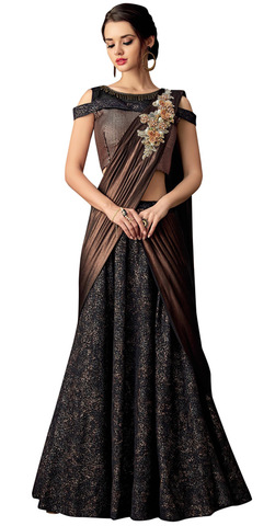 Fancy Jacquard Black Embroidered Lehenga Style Saree