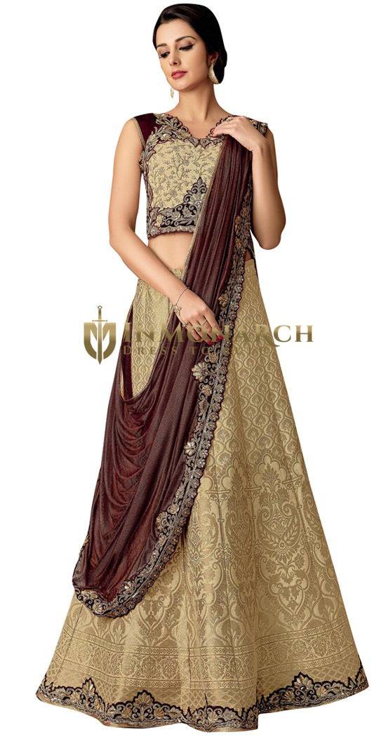 Cream Jacquard Silk Indian Wedding Saree