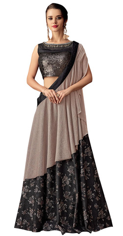 Fancy Jacquard Black Lehenga Saree