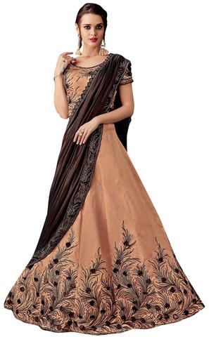 Taffeta Silk Peach Embroidered Lehenga Style Saree
