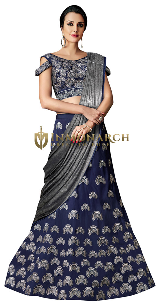 Taffeta Silk Blue Lehenga Style Bridal Saree