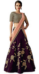 Velvet Wine Embroidered Lehenga Saree