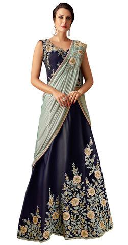 Taffeta Silk Blue Lehenga Style Embroidered Saree