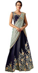 Taffeta Silk Blue Lehenga Style Embroidered Saree